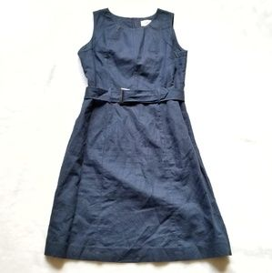 Neiman Marcus Navy Belted Linen Sheath Dress sz 4